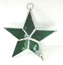 Lot of 10  Stained Glass Flat STARS Iridescent GREEN ! Christmas Ornaments !