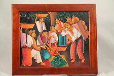 Original Painting Guatemala Signed C. Ramirez Atitlan Mayan Folk Art Collectible
