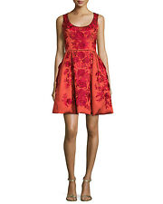 Marchesa Sleeveless Floral Embroidered Flared Red Cocktail Dress Size 8 $3695