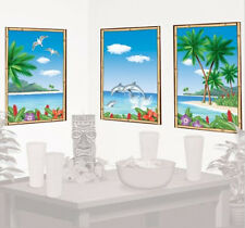 TROPICAL BEACH Scene Setter luau party wall decor 3 scenic windows palm tree