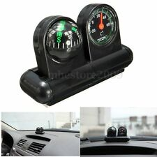 2 In 1 Removable Car Auto Compass & Thermometer Adhesive Black Van Truck Vehicle