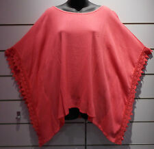 Top XL 1X Plus Coral Tunic Poncho Caftan Crochet Lace trim Wide Sleeve NWT BV330
