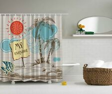 "MY PARADISE ISLAND BEACH 70"" Fabric Bathroom Shower Curtain"