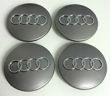 4 x ALLOY WHEEL CENTER HUB CAPS 68mm  AUDI GREY  S3 S4 A3 A4 A6 A8 TT RS4 Q5 Q7