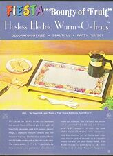 VINTAGE AD SHEET #1957 - HOSTESS ELECTRIC WARM-O-TRAYS - BOUNTY OF FRUITS LINEN