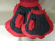 MUM & DAUGHTER MATCHING SET VINTAGE 50s STYLE HALF APRONS - BLACK & WHITE with R