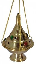 """5"""" inch Hanging Brass Colored Stones Incense Resin Charcoal Cone Burner Censer"""