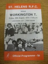 30/08/1974 Rugby League Programme: St Helens v Workington Town [Lancashire Cup]