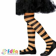 KIDS ORANGE & BLACK TIGHTS - age 6-12 - halloween girls fancy dress accessory