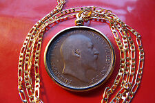 "1902-1910  English Rare King Edward VII Penny Coin Pendant 28"" Gold Filled Chain"