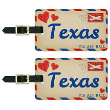 Air Mail Postcard Love for Texas Luggage Suitcase Carry-On ID Tags Set of 2