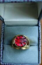 $320 Lalique Size 8 red Crystal Sterling Ring Mint in Box