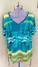 NWOT Women's Size XL Basic Editions Shirt Top Tie Dye Ruched Sides