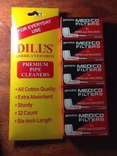Dill's Dills Cotton Pipe Cleaners 32ct & Medico Pipe Filters 50ct NEW In Package