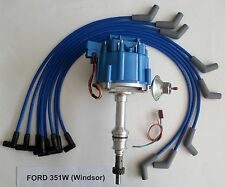 FORD 351W (Windsor) BLUE HEI Distributor & 8mm Spiral Core Spark Plug wires USA