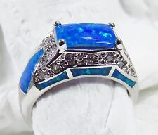 Stunning Sterling 925 Silver SF Size 7 Ring Blue Lab Opal & White Topaz Accents