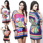 WOMENS FLORAL KAFTAN TUNIC MINI DRESS BEACH SWIMSUIT COVER UP LONG TOP PLUS SIZE