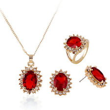 3 Color Fashion Zircon Pendant Necklace Earrings Set Crystal Jewelry Sets