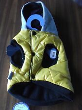 DOG PET COAT WITH SNAPS & HOOD BLACK YELLOW & GRAY SIZE EXTRA SMALL NEW WITH TAG