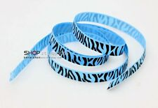New hot 5YDS 3/8' Printed Zebra Lake Blue Grosgrain Ribbon Hair bow DIY Craft