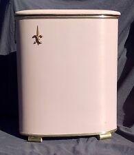 """Vintage Laundry Clothes Hamper 1950s Wood Wicker Pink Vinyl Fleur-De-Lis 25.5"""""""