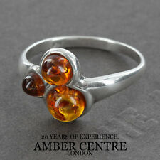 Three Fiery Orange Baltic Amber Beads In 925 Silver WR255; RRP £21; Size P