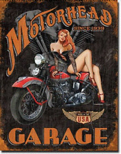 Motorhead Garage Motorbike Pin Up Girl  Vintage Retro Metal Tin Sign Wall Decor