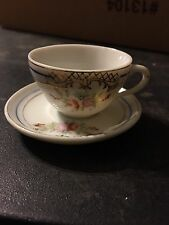 Vintage Hand Painted Teacup And Saucer Made In Occupied Japan, Floral Design