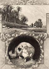 EAU FORTE / Fables de la Fontaine 1883 / LE RAT ET L'ELEPHANT