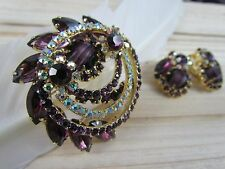 VTG JULIANA AMETHYST PURPLE GIRVE ART STONE RHINESTONE BROOCH PIN EARRING SET