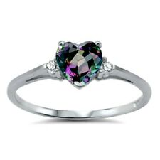 .925 Sterling Silver Ring size 4 CZ Heart cut Rainbow Topaz Midi Kids New x26
