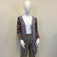 ASOS Ladies Grey Aztec Pattern Sleeve Jersey Waterfall Cardigan UK Size 10/12