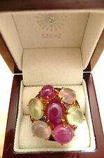 CABOCHON RUBY PREHNITE ROSE QUARTZ GOLD 925 SILVER DESIGNER STATEMENT RING SZ N