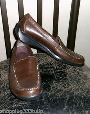 """Falls Creek """"Roxanne"""" Brown Genuine Leather Sz 9 Casual Loafer Shoes EUC"""