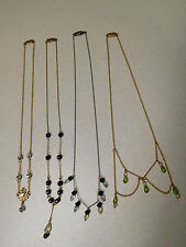 Vintage Lot Gold Silver Tone Borealis Glass Bead Chatelaine Lariat Necklaces