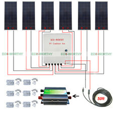 6x160W 900W 12V off Grid Poly Solar System w/ 6 Strings Combiner Box for House