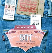 New Levi's 501 Mens Regular Fit Stretch Jeans Size 32 x 32 Light Blue Levis