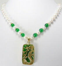 Stunning Real White Pearl Green Jade 18KGP Dragon Pendant Necklace