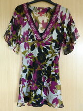 Monsoon Ladies Blouse Top Size 8 Smart Summer Vest Pink Green Floral Silk (pf)