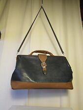 sac vintage KATANA diligence cuir synthétique bleu/taupe