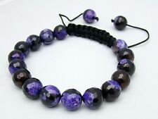 Men's Shamballa bracelet all 10mm  NATURAL Fire Crackle purple AGATE stone beads