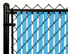 Chain Link Sky Blue Double Wall Tube™ Privacy Slat 8ft High Fence Bottom Lock
