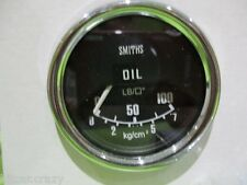 SMITHS  OIL PRESSURE GAUGE  ,50MM BLACK FACE WITH CHROME , MINI , MG, GAE122