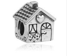 1pcs Silver House Charms Beads fit European Charm Bracelet Necklace