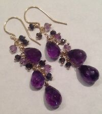 14k solid yellow gold Amethyst And Iolite Briolette earrings