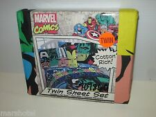 MARVEL COMICS SUPER HEROES TWIN SHEET SET BEDDING LINENS HULK IRON MAN THOR CAPT