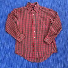 Vintage 70s Red Plaid Button Up Shirt Lightweight Bud Berma Size L Large