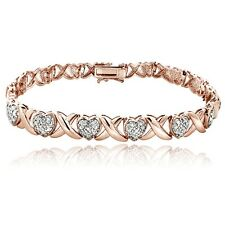 18K Rose Gold Tone 0.50Ct TDW Diamond X & Heart Bracelet