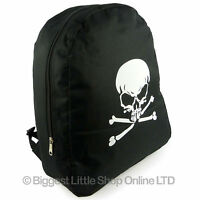 Boys Black Skull & Crossbones BACKPACK RUCKSACK School Bag Sports Travel NEW