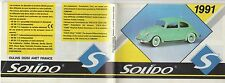 mini CATALOGUE SOLIDO 1991 PRESTIGE CUSTOM AGE D'OR SIXTIES TO DAY MILITAIRES